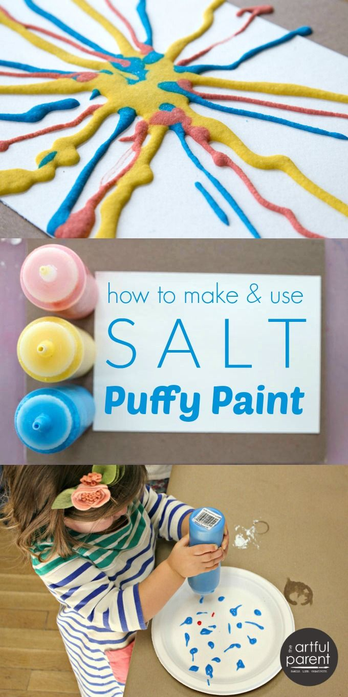 DIY Craft: How to make and use DIY salt puffy paint with kids. This is a tried-and-true favorite process art material and technique for young children.