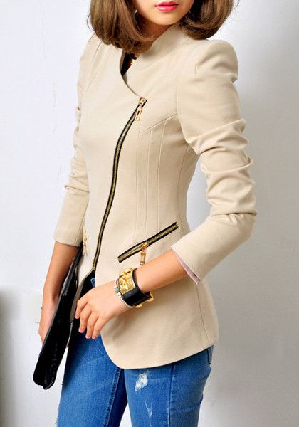 neutral zip blazer