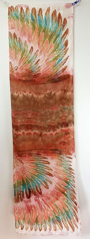 Handpainted silk parrot scarf featuring by HeronDesignStudio