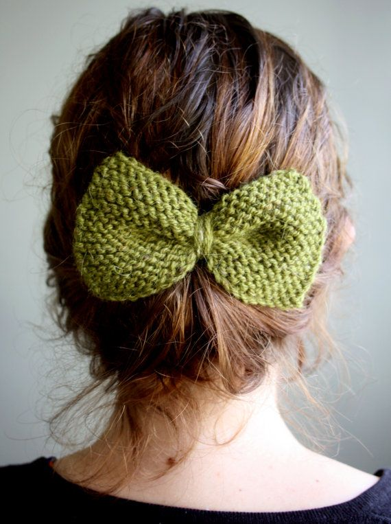 Little Knit Bow in Olive Green