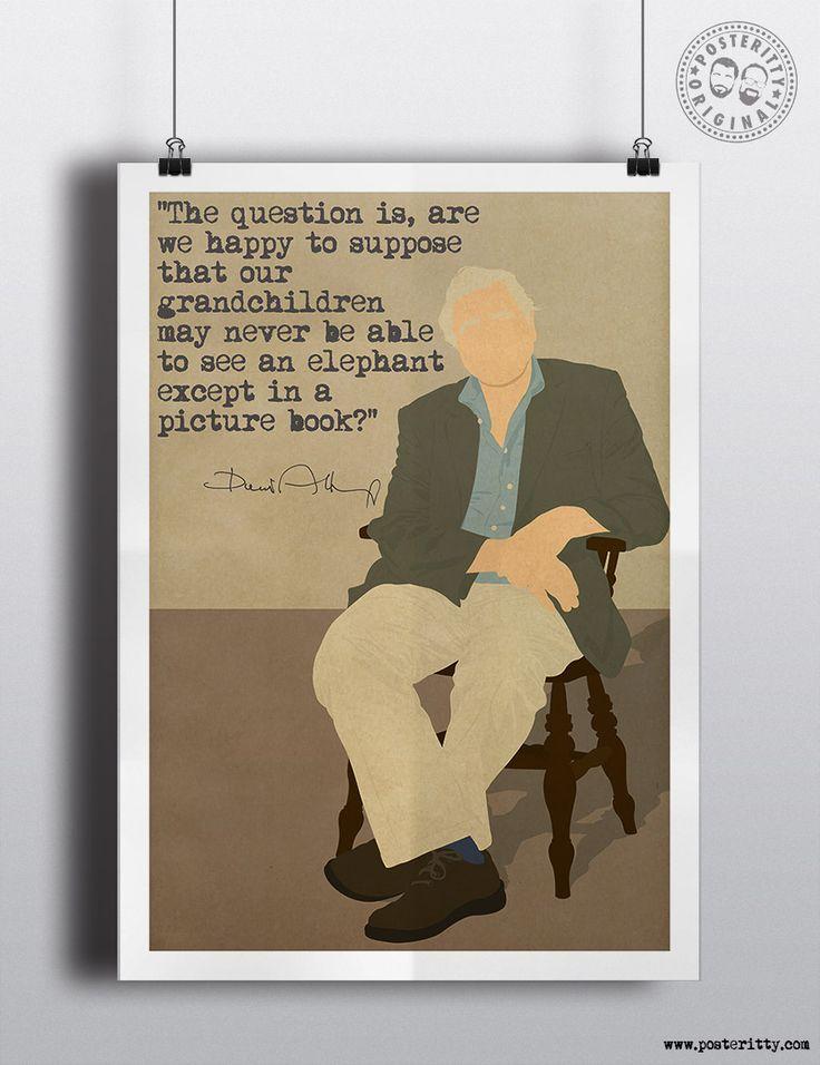 David Attenborough Quote Minimalist Poster by Posteritty Minimal Art Design