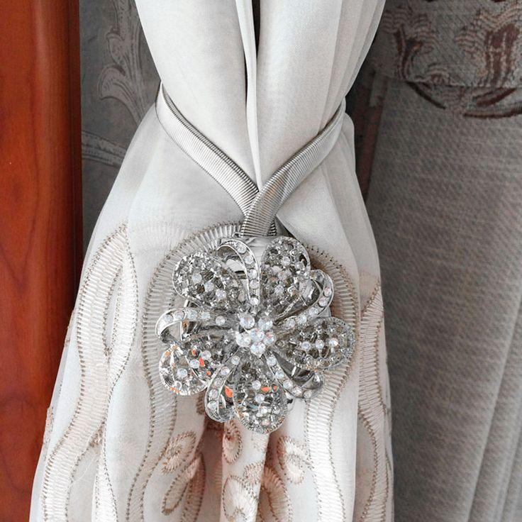 Pair of Crystal Curtain Clips Magnetic Curtain Tie Backs Holdbacks Flower Silver | eBay