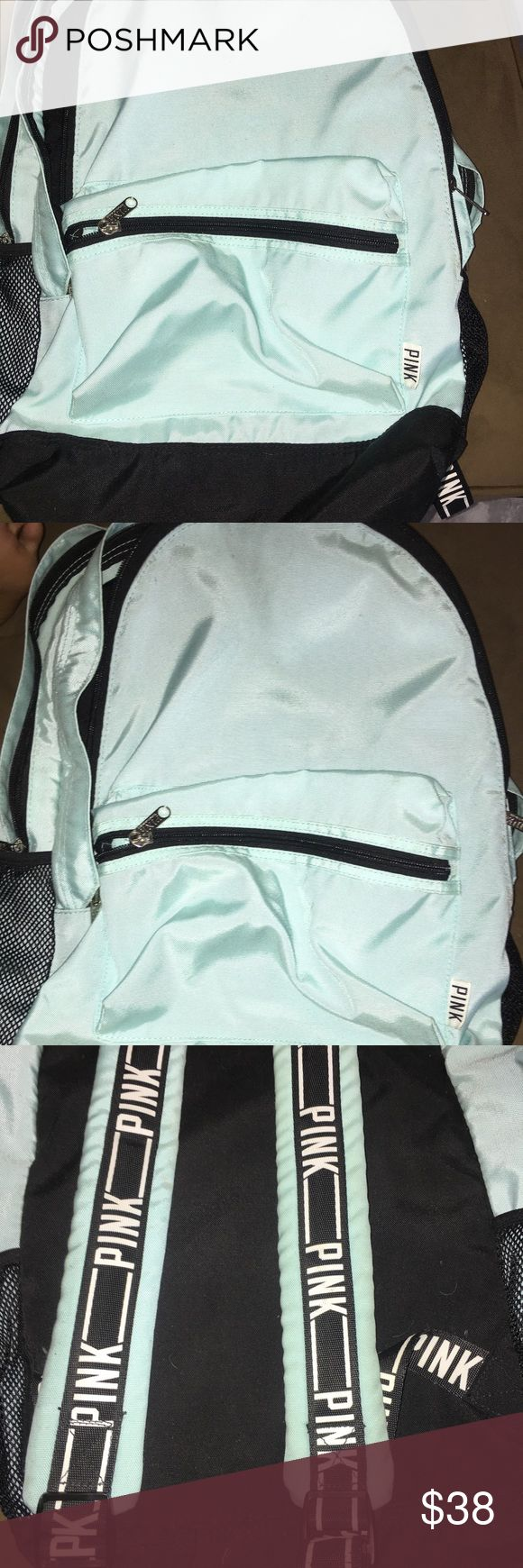 Pink backpack with laptop slot It's in good condition! It's a really pretty mint blue color PINK Victoria's Secret Bags Backpacks