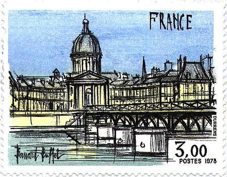 Bernard BUFFET ( 1928 - 1999 ) | Paris -L'Institut et le Pont des arts