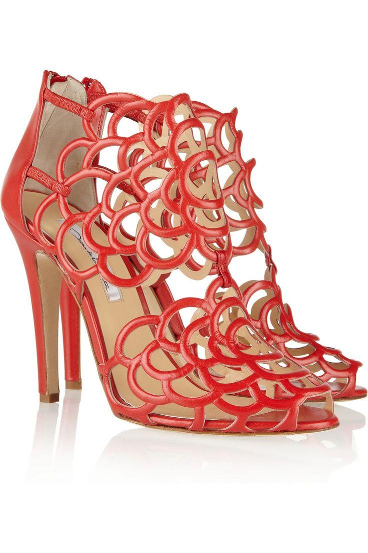 Oscar de la Renta Gladia cutout leather sandals NET-A-PORTER.COM