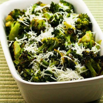 Recipe for Roasted Broccoli with Lemon and Pecorino-Romano Cheese [from Kalyn's Kitchen] #HealthyThanksgiving