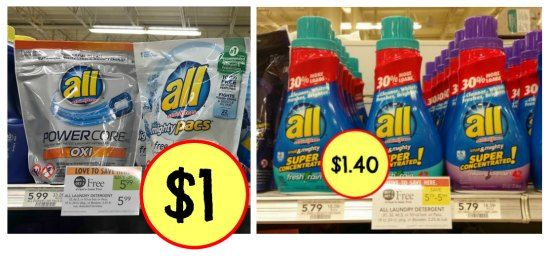 Be sure to grab the new All Laundry Detergent coupons for the BOGO sale this week at Publix! Pay just $1 for the Pacs or $1.40 per bottle after sale and co