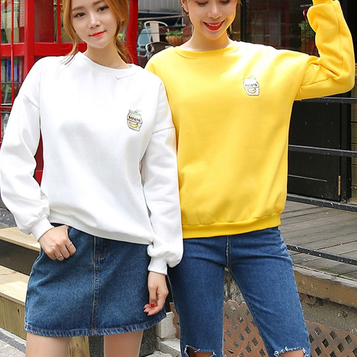 women autumn and winter Korean students Campus banana milk embroidery loose long-sleeved round neck fleece sweatshirt hedging