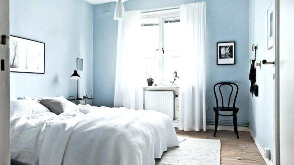 Interior Bedroom With Blue Walls Elegant Light Grey Modern Pastel
