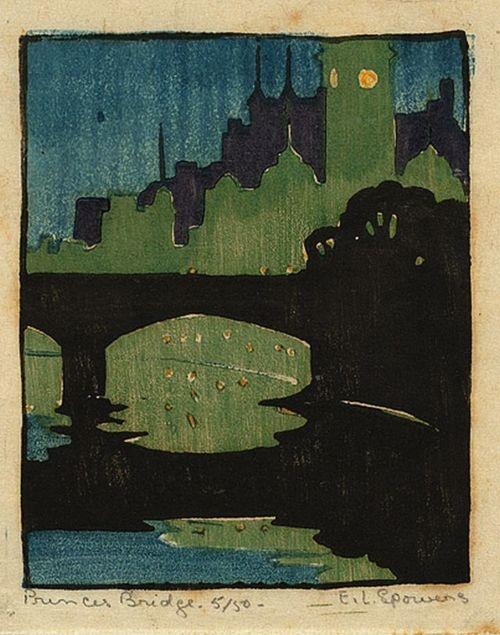 Ethel Spowers, Princes Bridge c.1927   relief linocut, printed in colour, from five blocks