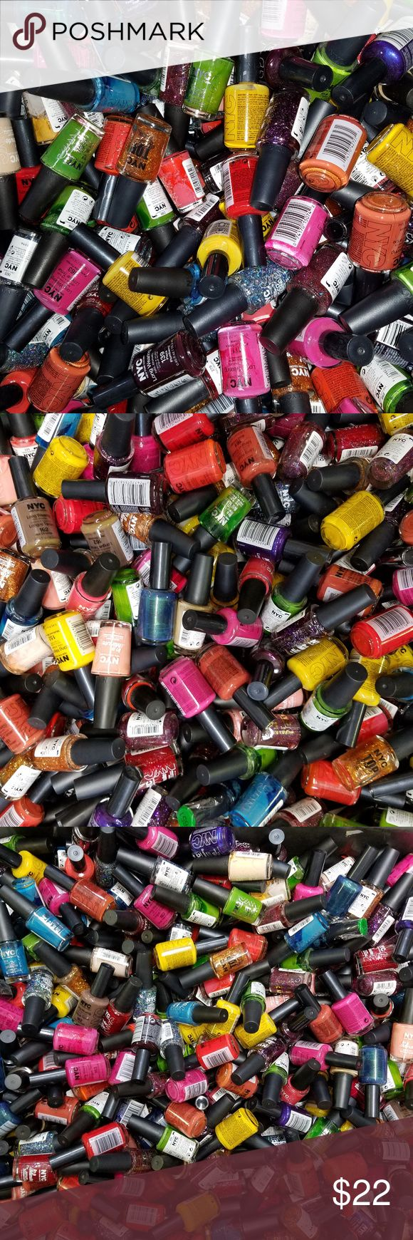 NYC New York Color Nail Polish Enamel Lot of 25 NYC (New York Color) Nail Polish Assorted Lot of 25 - BRAND NEW FRESH LOAD JUST IN! Two different types included: - NYC Long Wearing Nail Enamel .45 oz. each - NYC In a Minute Quick Dry Nail Polish and Top Coats .33 oz. each  Lot will include at least 18 different colors, a few colors will repeat, but not many!  Lot of 25 New Polishes (Model Photos).  Colors included in each lot may slightly vary. Great nail polish collection for personal use…