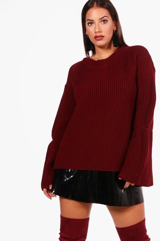 Plus Olivia Flared Sleeve Knitted Jumper