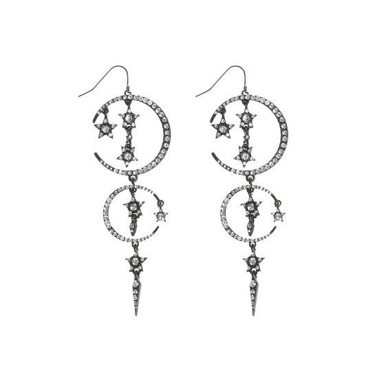 Black Diamante Celestial Drop Earrings