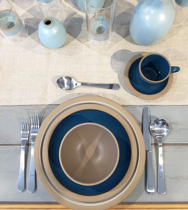 Blue Shades Table Setting. David Mellor Cheslea Cutlery | Heath Ceramics. #davidmellor #cutlery #tableware #placesetting #tablesetting #flatware #shadesofblue #bluetable #dining