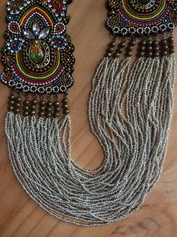 Bead Embroidery Necklace with Seed Beads on Black by perlinibella