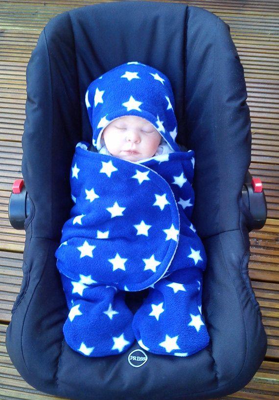 Car Seat Cosy Wrap Swaddle Blanket Baby Royal Blue by SiennaChic, £24.99