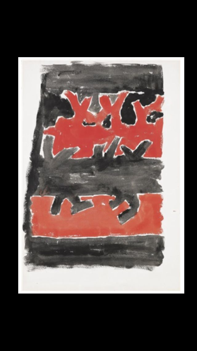 "Giuseppe Capogrossi - "" Superficie CP/74 "", c. 1957/1959 - Tempera on paper - 48,2 x 33,5 cm"
