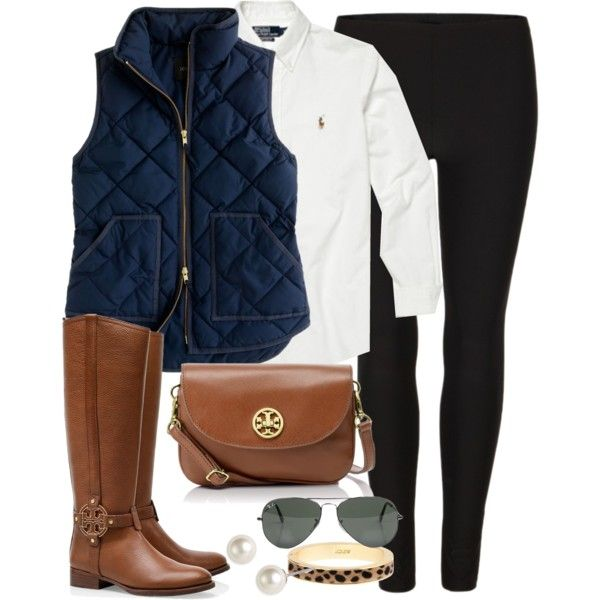 tory burch riding boots, navy quilted vest, white blouse, black jegging,  brown
