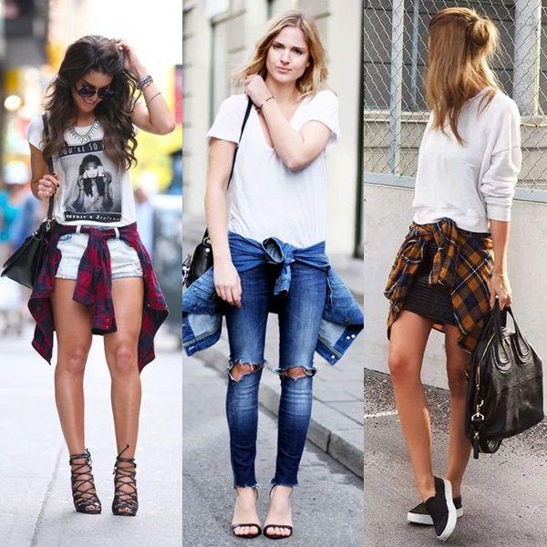 Looks com camisa na cintura: 1) T-shirt estampada  + Shorts claro + camisa xadrez vermelha + sandália de tiras preta. 2) T-shirt básica branca + camisa jeans + calça jeans.  3) Moletom branco + saia curta preta + camisa laranja + tênis iate preto.
