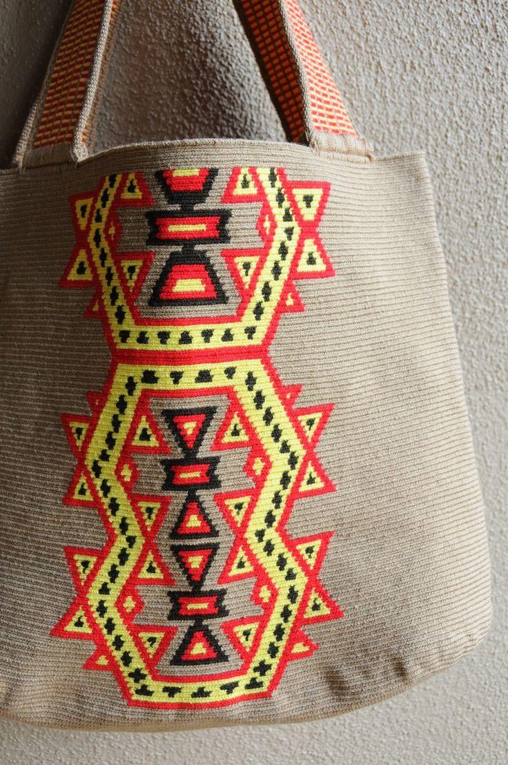 Tan Aztec Geometric Shopping Tote // Navajo //Wayuu Mochila Tote // Azulina Wayuu $248