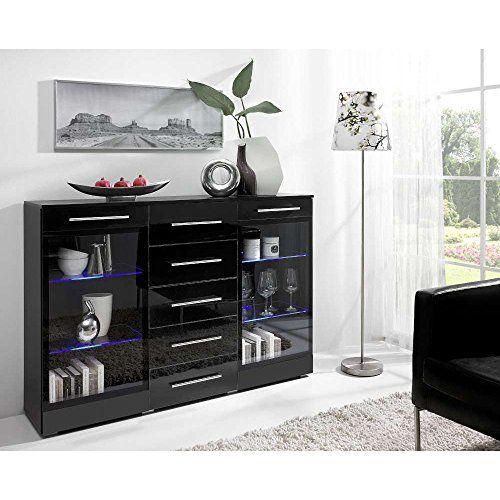 JUSThome VERONA 2W5S Kommode Sideboard Wohnzimmerschrank (HxBxT): 100x150x41 cm Farbe: Schwarz Matt/Schwarz Hochglanz