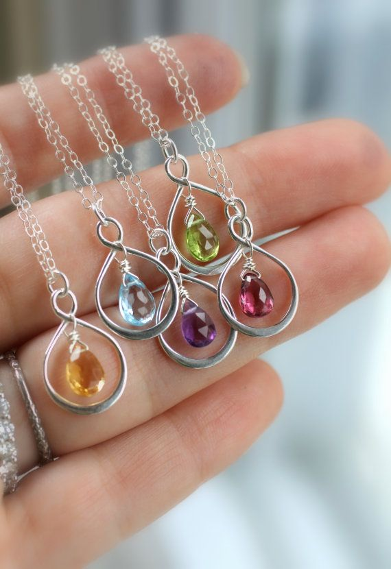 Bridesmaid Gift, Bridesmaid Necklace, Birthstone Necklaces, Infinity Necklaces, Friendship, Silver, Choice of Gemstone, Thank you Gifts によく似た商品を Etsy で探す