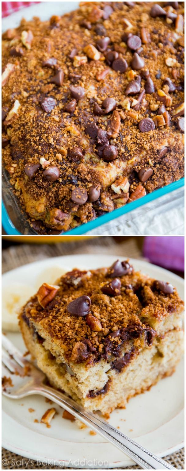 Super-moist banana crumb cake layered with cinnamon, brown sugar, and chocolate chip streusel. Not one piece of this lip-smacking cake will be leftover!