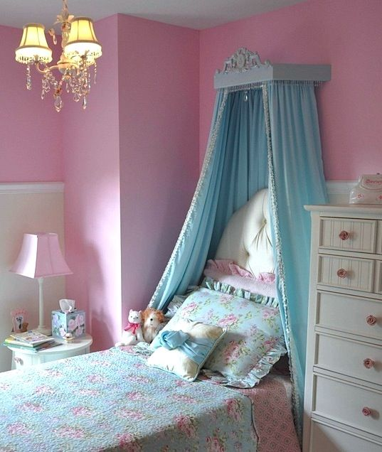 girl bed fabric canopy | Carved wood bed crown with full ...
