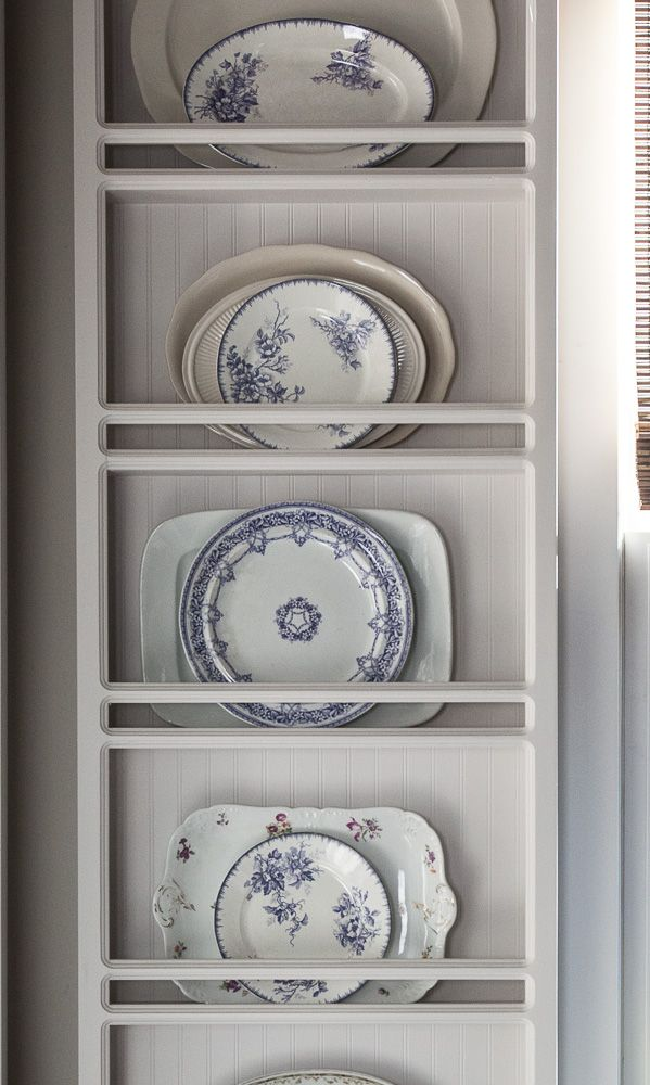 A plate rack filled with beautiful lavender plates from Cedar Hill Farmhouse.  What is your color of the year? Are you adding new color to your home? See how I added lavender to my house.   Home Decor | Lavender | Decorating