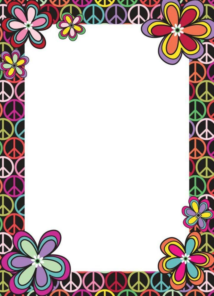 13 Inch X 18 Inch Dry Erase Memo Board With Peace Sign And Flowers Border Floral Border Design Frame Border Design Colorful Borders Design