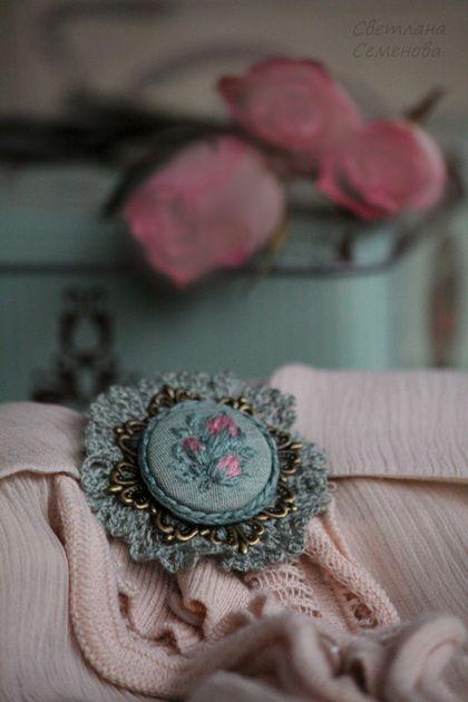 Брошь Английская Роза - мятный,розовый,кружевной,винтаж,винтажный,ретро
