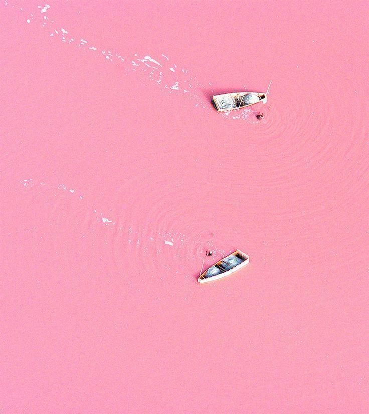 Le lagon Retba (Sénégal), situé au large de l'océan Atlantique, est complètement… rose ! Entouré de dunes et peu profond, ce lac de 3 km2 tient sa teinte particulière des organismes microscopiques qui l'habitent : des cyanobactéries. Ces dernières diffusent un pigment rouge pour se protéger de la concentration en sel, plus forte lorsque le vent est sec. Plus le temps est sec, plus la teinte du lac est saturée.