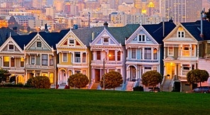 Where else? Undulating tree-lined street and perfect white gabled houses. Must be San Fran.