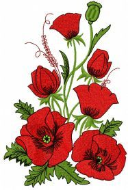 Poppies free machine embroidery design. Machine embroidery design. www.embroideres.com