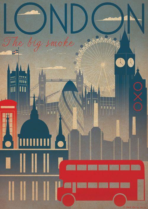 ein-bleistift-und-radiergummi:  London City Art Deco Bauhaus Poster