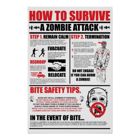 How To Survive A Zombie Attack Poster | Zazzle.com
