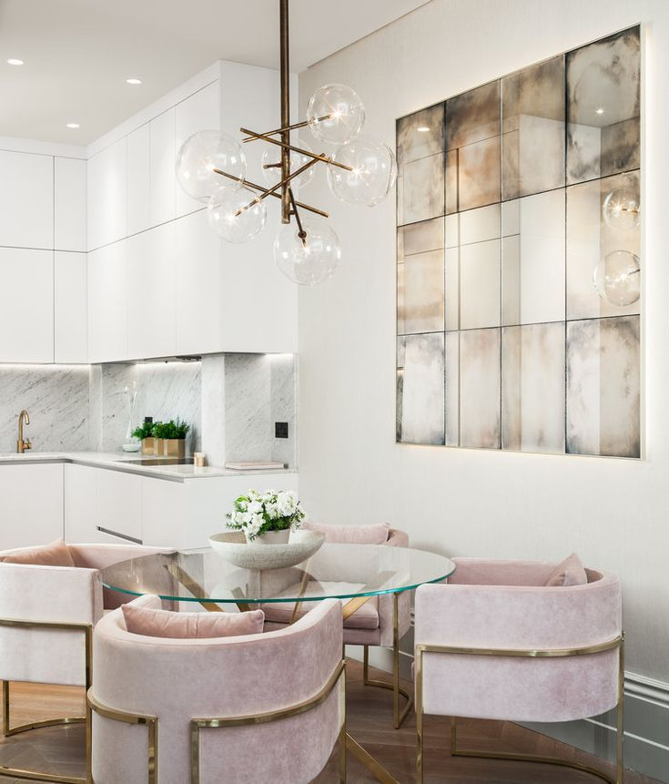 Jo Hamilton Interiors Modern White Kitchen With Pink Velvet Dining Room Chairs