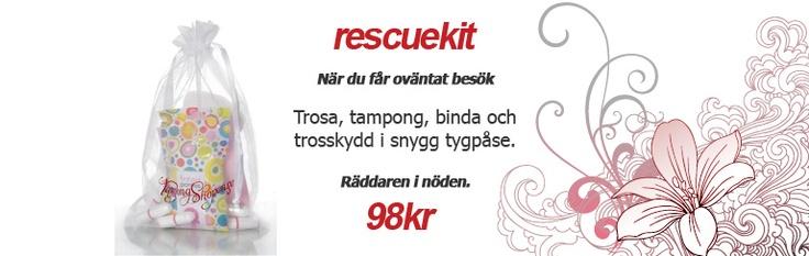 Perfekta måste-ha-grejen för glömska mensmonster med #tamponger, bindor, trosskydd och ett par akuttrosor. Ett smart RescueKit.     98kr på www.TampongShopen.se