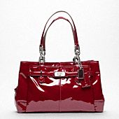 beautiful red patent leather coach purse
