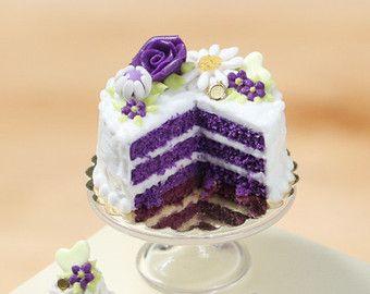Lila samt Layer Cake - Miniatur-Nahrung für Puppenhaus 12. skalieren, 01:12