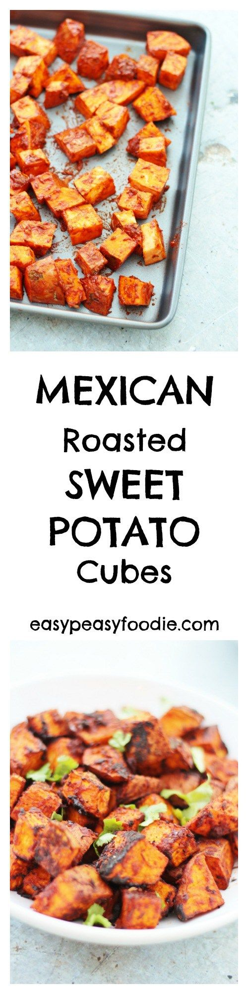 Delicious cubes of sweet potato, coated in spices, garlic and lime juice and roasted in the oven for just 20 minutes, these Mexican Roasted Sweet Potato Cubes make a delicious side dish for tacos, fajitas and BBQs.