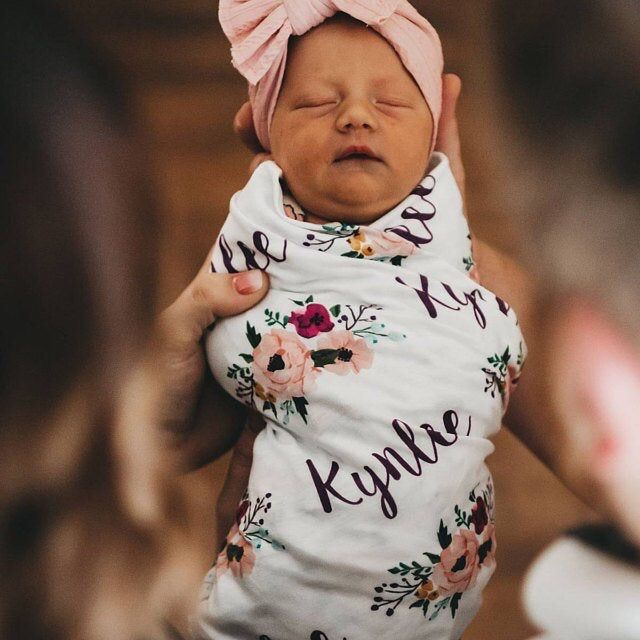 Personalized Swaddle Custom Receiving Blanket. Girl Baby Name Blanket Floral print Baby Shower Gift Floral Personalized Baby Blanket