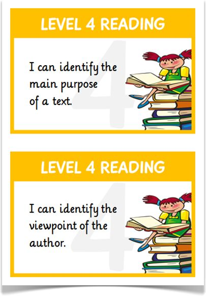 Reading Targets Levels 4 & 5 - Treetop Displays - A set of 24 reading target statements on A5 flashcards for children working at level 4 (in orange) and level 5 (in purple). Each flashcard presents a cartoon character reader and links to the APP writing assessment guidelines. Visit our website for more information and for other printable resources by clicking on the provided links. Designed by teachers for Early Years (EYFS), Key Stage 1 (KS1) and Key Stage 2 (KS2).
