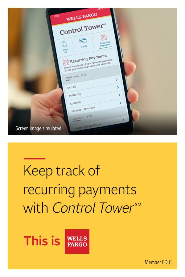 With Control Tower℠, you can see recurring payments in one