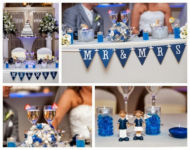 Wediquette and Parties: Kelsea & Ryan's Penn State Wedding- Sweetheart table decor, that amazing blue & white brooch bouquet and more!