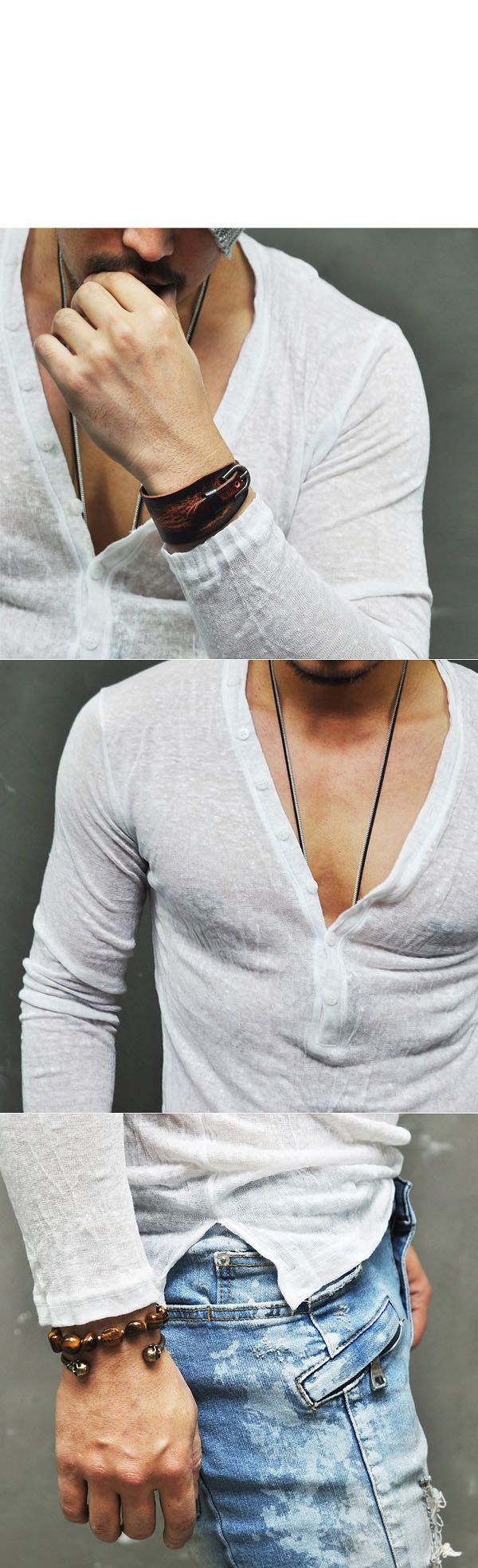 Tops :: Knits :: Holiday Linen Wrinkle Button Sexy Deep V-Knit 103 - Mens Fashion Clothing For An Attractive Guy Look