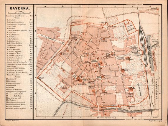 1903 Map of Ravenna Emilia-Romagna Map of Italy by Craftissimo