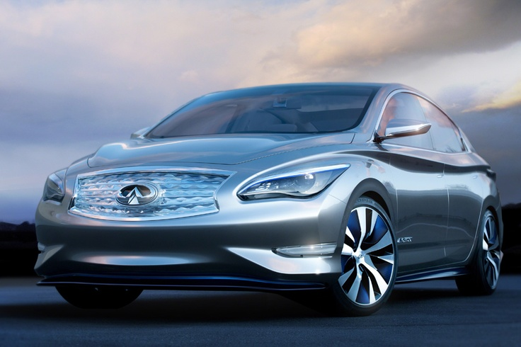 Infiniti LE Wireless  Electric Car      The aerodynamically styled sedan gets power from a 192 cell lithium ion battery pack. Its 100 kilowatt hour electric motor is rated at 134 horsepower and 240 foot lbs of torque, and Infiniti estimates the range at 100 miles.