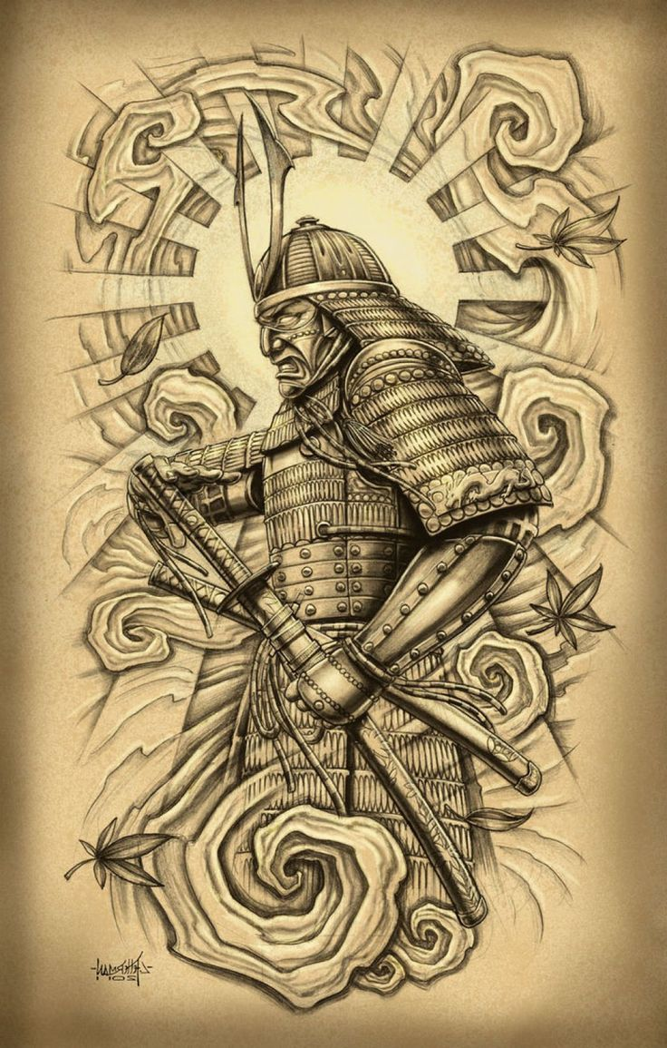 Traditional japanese samurai tattoo