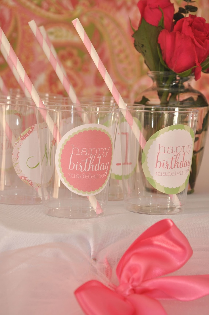 Stickers on clear cups. So easy to order for every holiday!: Plastic Cups, Birthday Idea, Pretty Sticker, Party Ideas, Baby Shower, Birthday Party